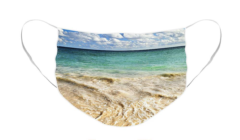 Beach Face Mask featuring the photograph Wave on tropical beach by Elena Elisseeva