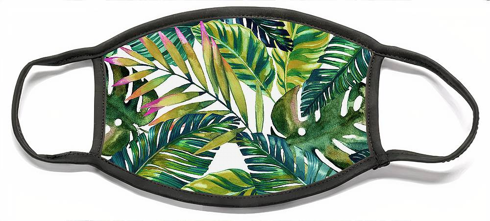 Tropical Leaves Face Mask featuring the painting Tropical Green Leaves Pattern by Mark Ashkenazi