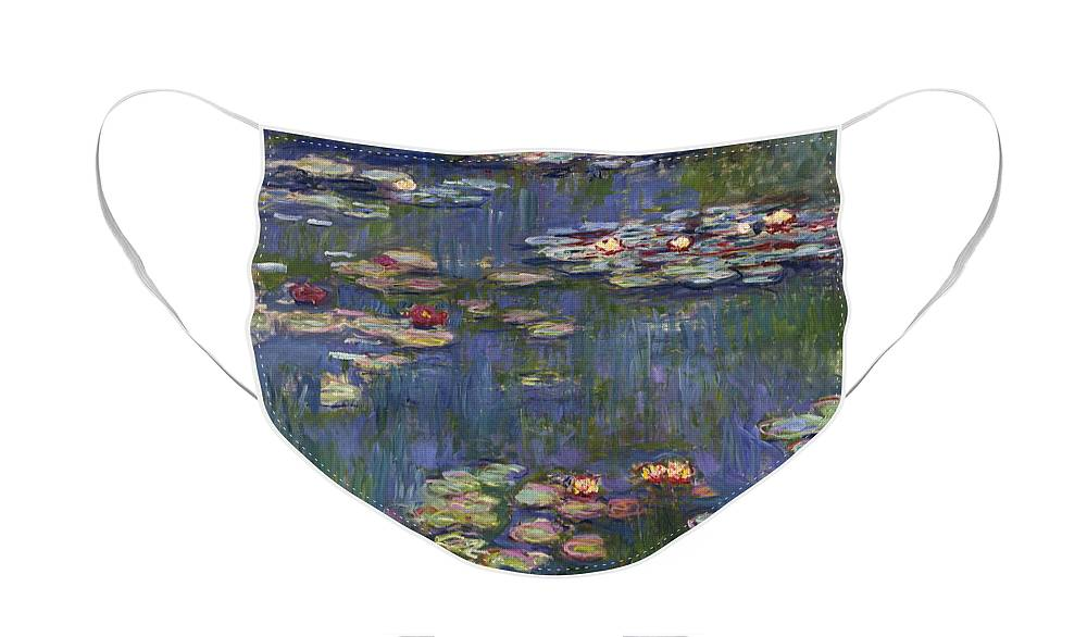 Monet Face Mask featuring the painting Water Lilies, 1916 by Claude Monet