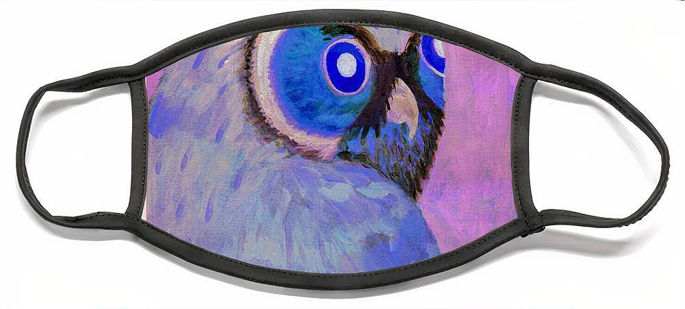 Owl Face Mask featuring the painting 2009 Owl Negative by Lilibeth Andre