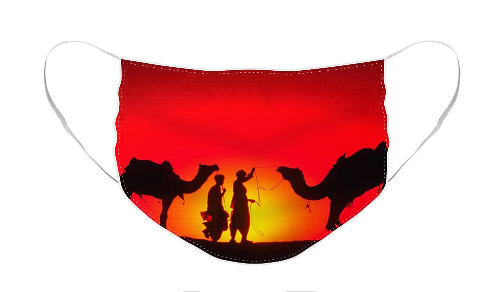 India Face Mask featuring the photograph Camels at Sunset by Michele Burgess