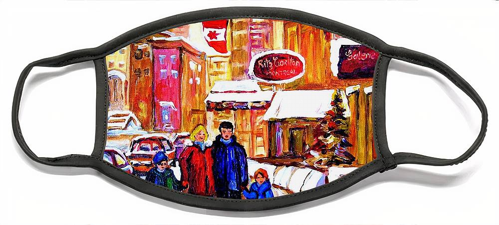 Montreal Face Mask featuring the painting Montreal Street In Winter by Carole Spandau