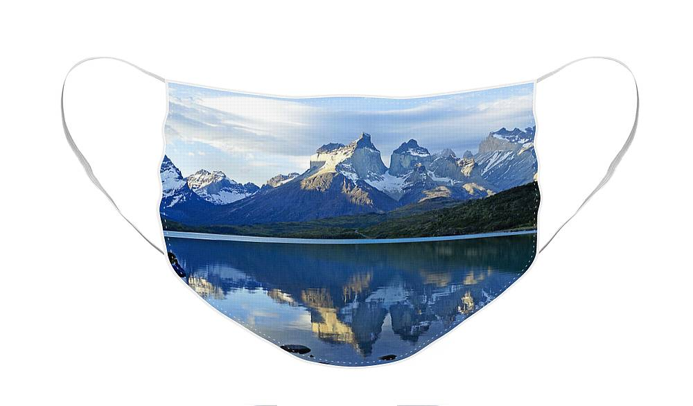 Patagonia Face Mask featuring the photograph Patagonia Reflection by Michele Burgess