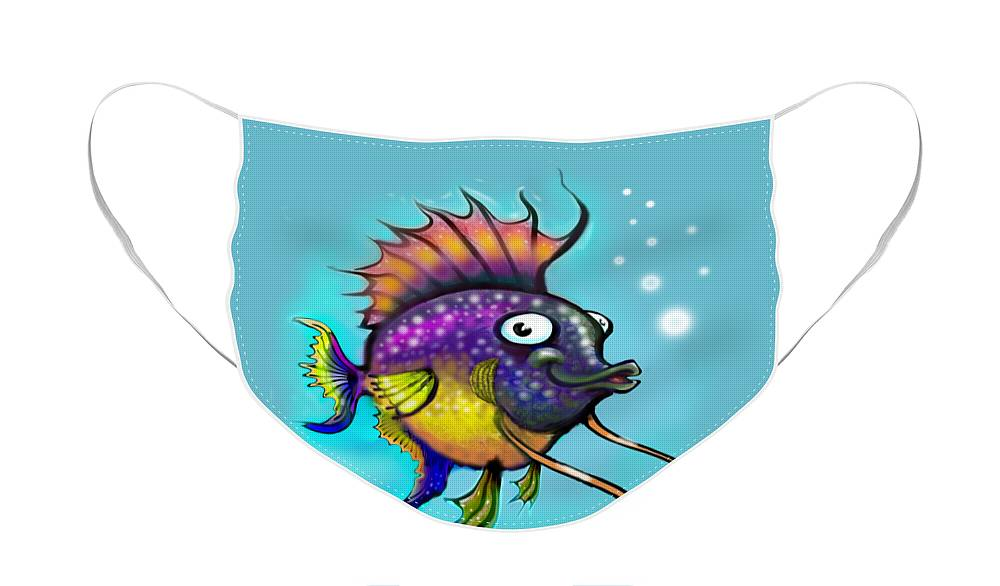 Rainbow Face Mask featuring the painting Rainbow Fish by Kevin Middleton