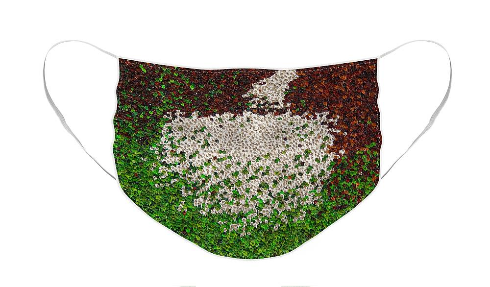 Abstract Face Mask featuring the painting Soft Green with Brown, Buff and White by Dean Triolo