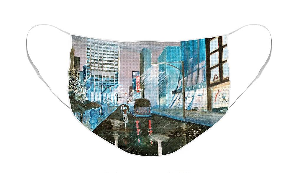 Street Scape Face Mask featuring the painting 42nd Street Blue by Steve Karol