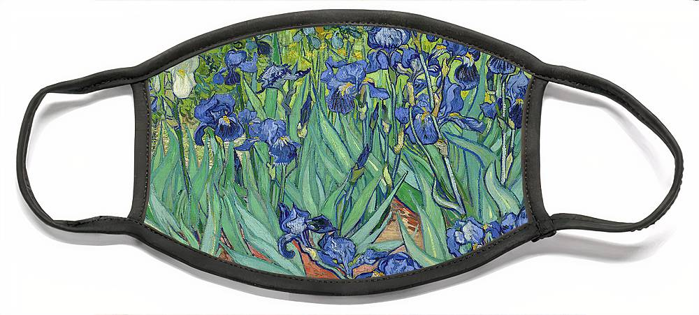 Irises Face Mask featuring the painting Irises by Vincent van Gogh