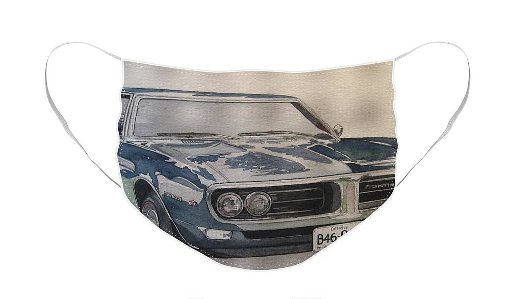 Muscle Car Face Mask featuring the painting 68 Firebird Sprint by Victoria Heryet