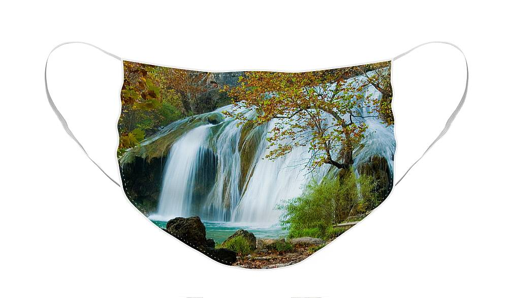 Waterfall Face Mask featuring the photograph Turner Falls by Iris Greenwell