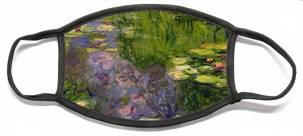 Nympheas; Water; Lily; Waterlily; Impressionist; Green; Purple Face Mask featuring the painting Waterlilies by Claude Monet