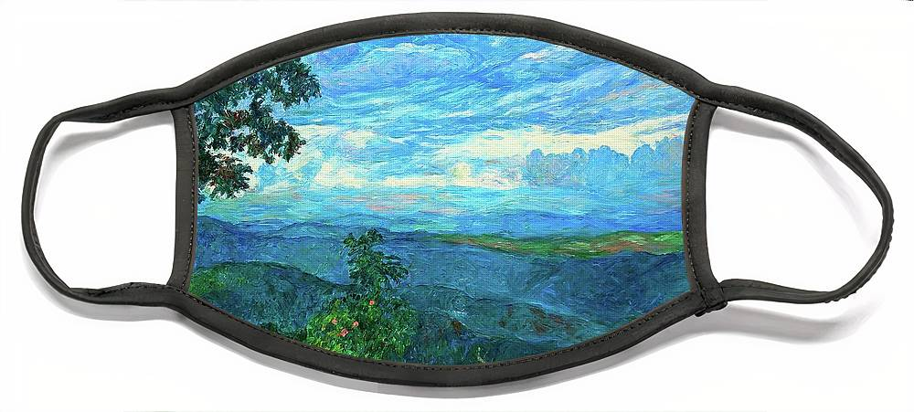 Mountains Face Mask featuring the painting A Break in the Clouds by Kendall Kessler