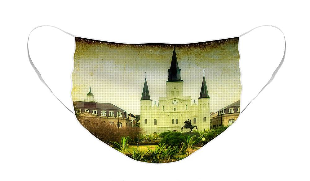 New Orleans Face Mask featuring the photograph A Day at the Church by Iris Greenwell