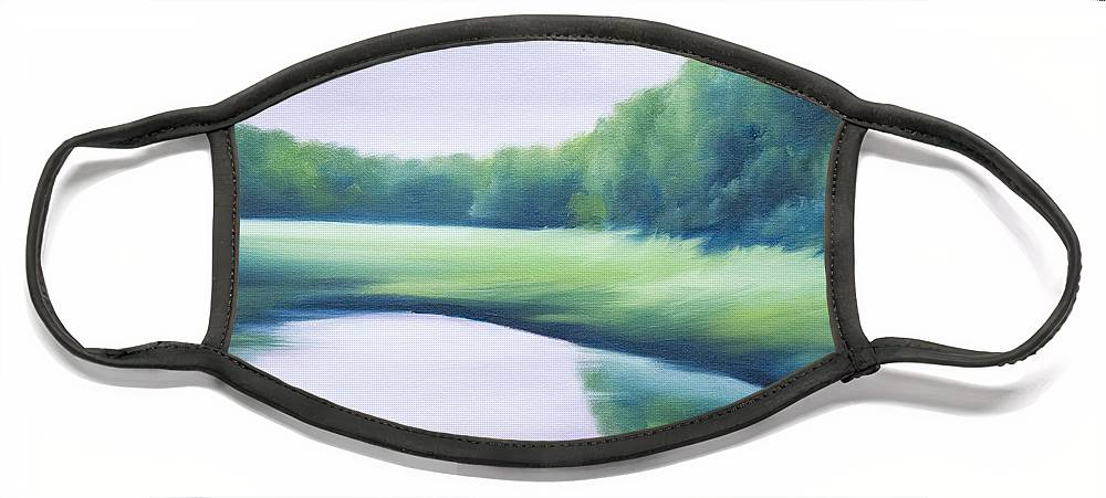 Nature; Lake; Sunset; Sunrise; Serene; Forest; Trees; Water; Ripples; Clearing; Lagoon; James Christopher Hill; Jameshillgallery.com; Foliage; Sky; Realism; Oils; Green; Tree; Blue; Pink; Pond; Lake Face Mask featuring the painting A Day In The Life 1 by James Christopher Hill