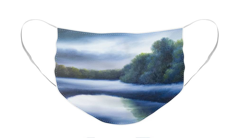 Nature; Lake; Sunset; Sunrise; Serene; Forest; Trees; Water; Ripples; Clearing; Lagoon; James Christopher Hill; Jameshillgallery.com; Foliage; Sky; Realism; Oils; Green; Tree; Blue; Pink; Pond; Lake Face Mask featuring the painting A Day In The Life 4 by James Christopher Hill