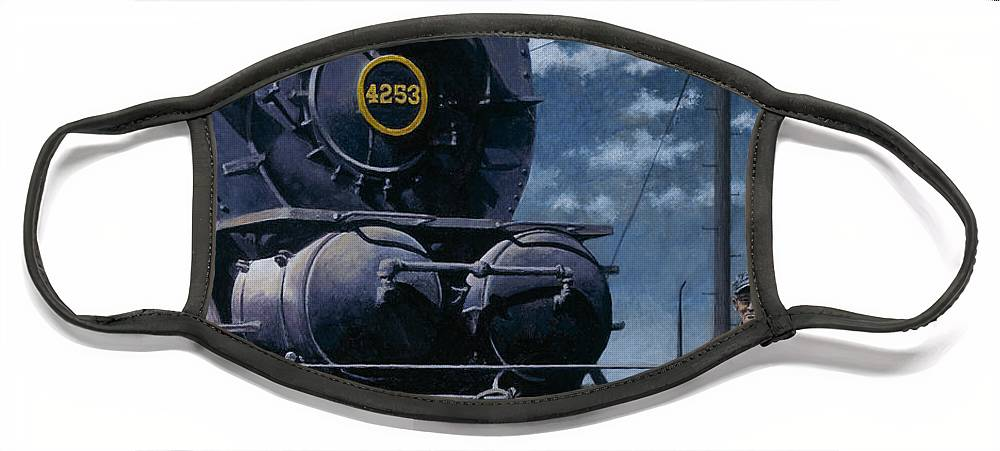 Trains Face Mask featuring the painting A Man and His Machine by David Mittner