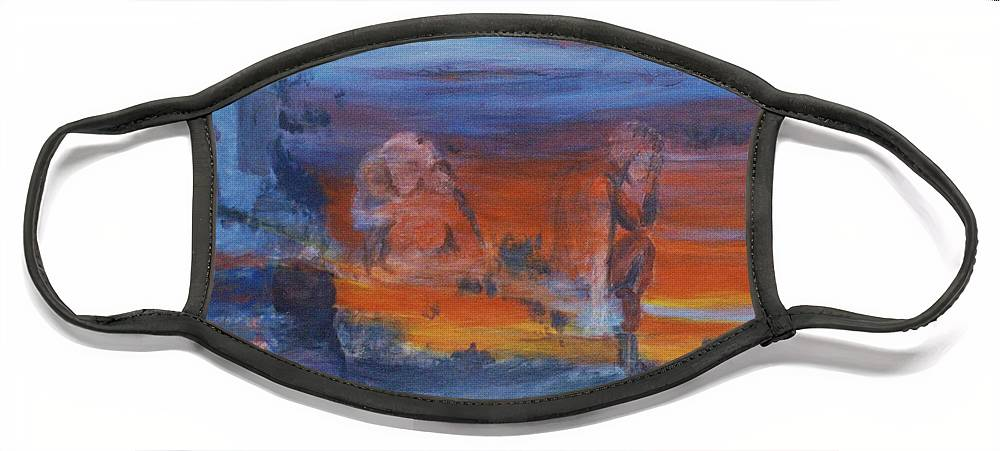 Abstract Face Mask featuring the painting A Mystery Of Gods by Steve Karol