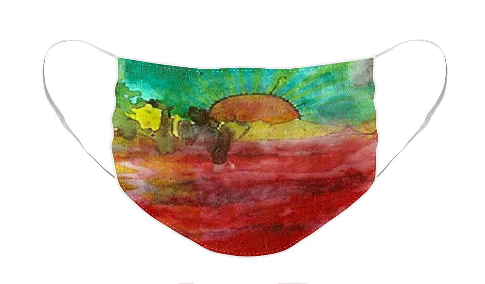 Sunrise Sea Painting Spiritual Rooma Mehra New Dawn Art Heal World Face Mask featuring the painting A New Dawn.. by Rooma Mehra