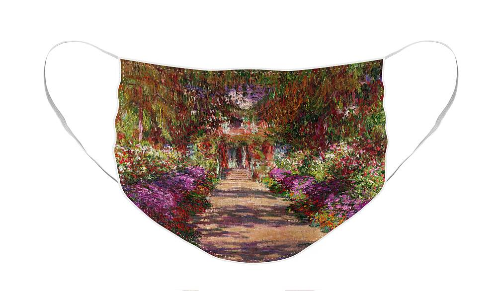 Pathway Face Mask featuring the painting A Pathway in Monets Garden Giverny by Claude Monet