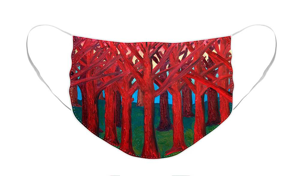 Abstract Face Mask featuring the painting A Red Wood - SOLD by Paul Anderson