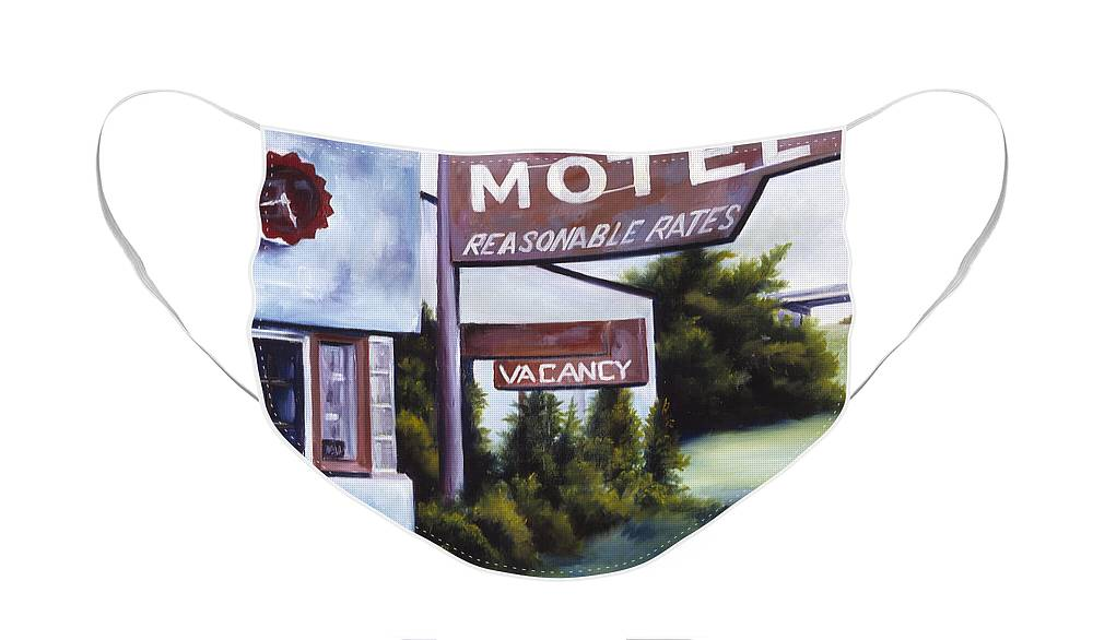 Motel; Route 66; Desert; Abandoned; Delapidated; Lost; Highway; Route 66; Road; Vacancy; Run-down; Building; Old Signage; Nastalgia; Vintage; James Christopher Hill; Jameshillgallery.com; Foliage; Sky; Realism; Oils Face Mask featuring the painting A Road Less Traveled by James Christopher Hill