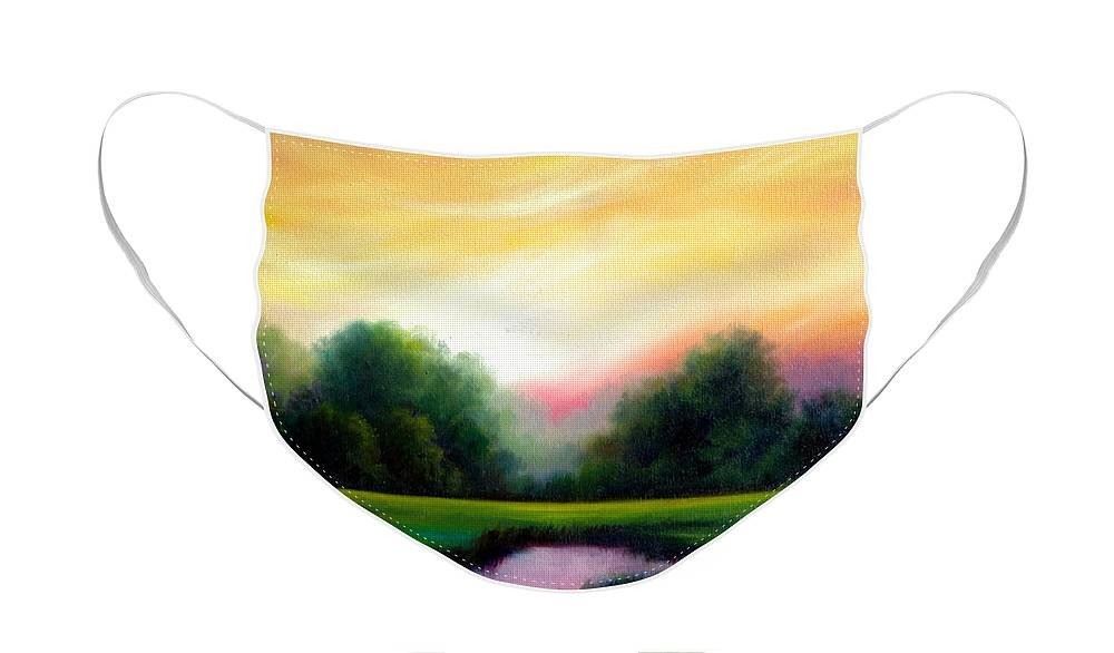 Clouds Face Mask featuring the painting A Spring Evening by James Christopher Hill