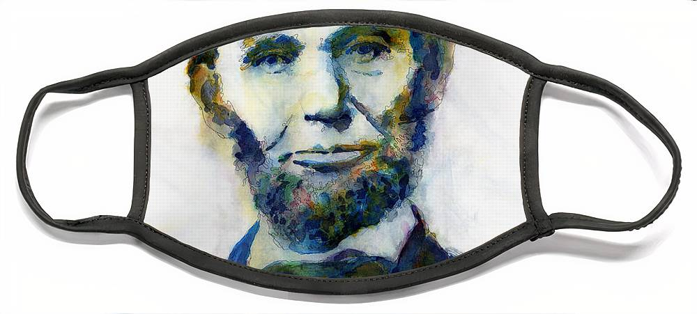 Abraham Face Mask featuring the painting Abraham Lincoln Portrait Study 2 by Hailey E Herrera
