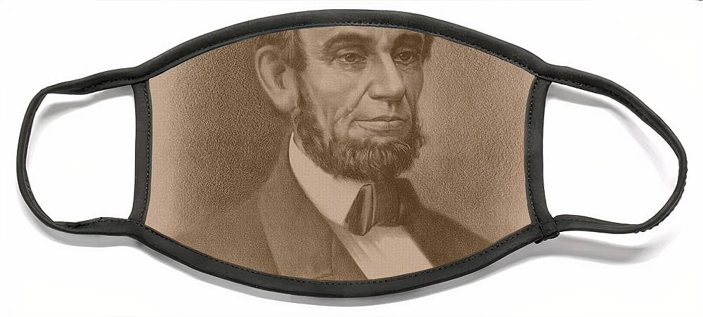 Abraham Lincoln Face Mask featuring the drawing Abraham Lincoln - Savior Of His Country by War Is Hell Store