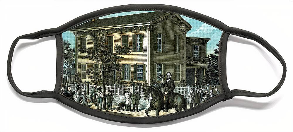 Abraham Lincoln Face Mask featuring the painting Abraham Lincoln's Return Home by War Is Hell Store