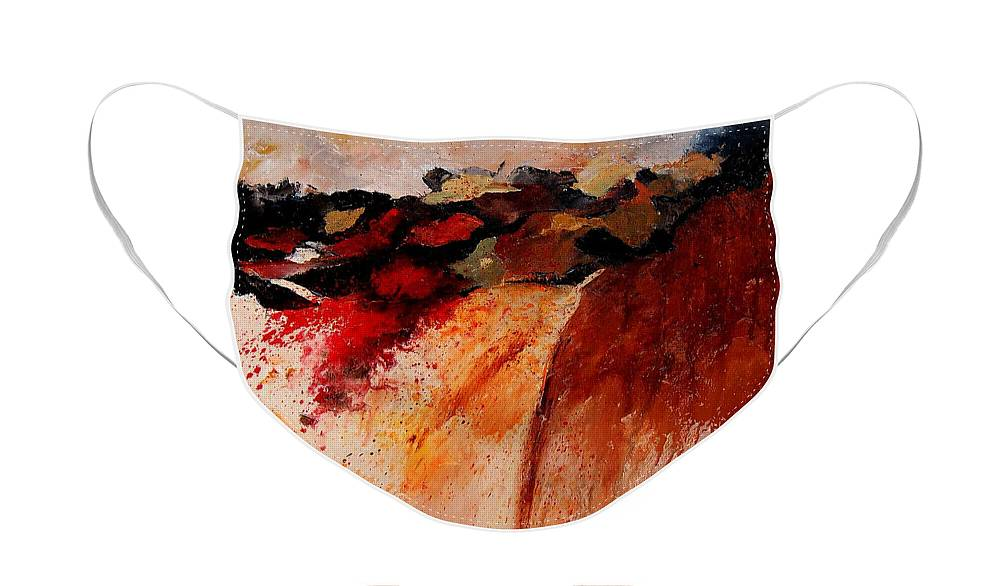 Abstract Face Mask featuring the painting Abstract 010607 by Pol Ledent