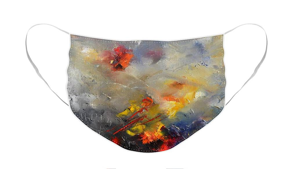 Abstract Face Mask featuring the painting Abstract 0805 by Pol Ledent