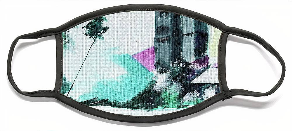 Nature Face Mask featuring the painting Abstract 14 by Anil Nene