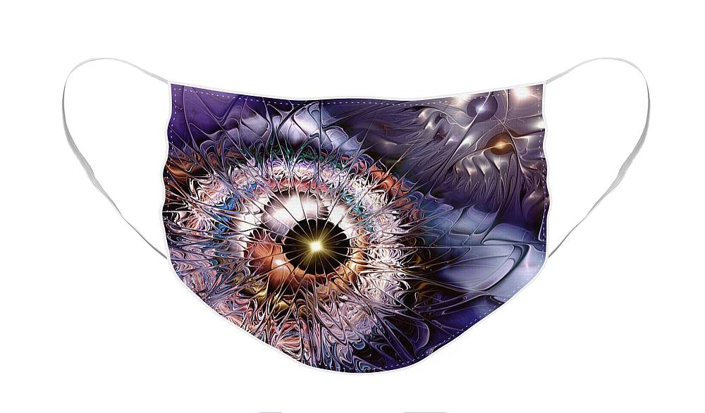 Abstract Face Mask featuring the digital art Accelerating the Process Within by Casey Kotas