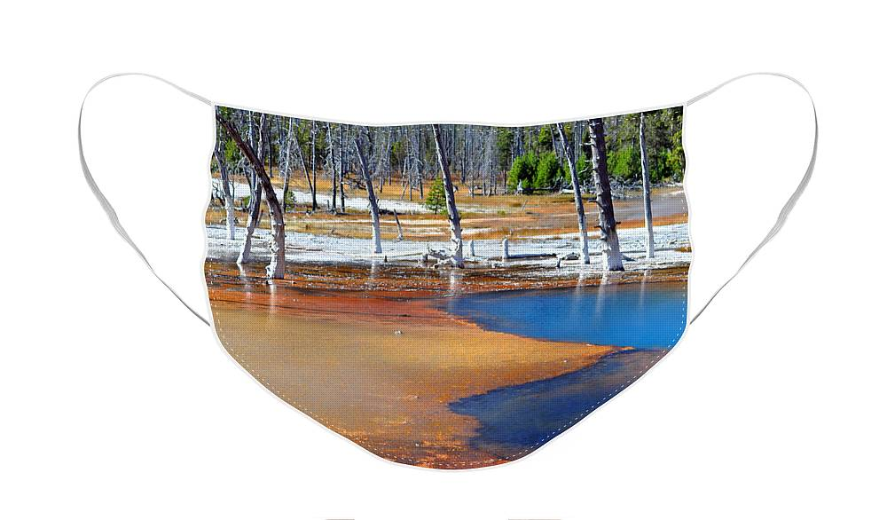 Diane Berry Face Mask featuring the photograph Acid Soup Yellowstone by Diane E Berry