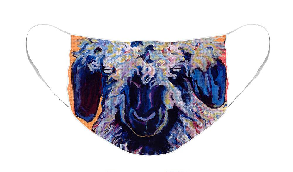Goat Print Face Mask featuring the painting Adelita  by Pat Saunders-White