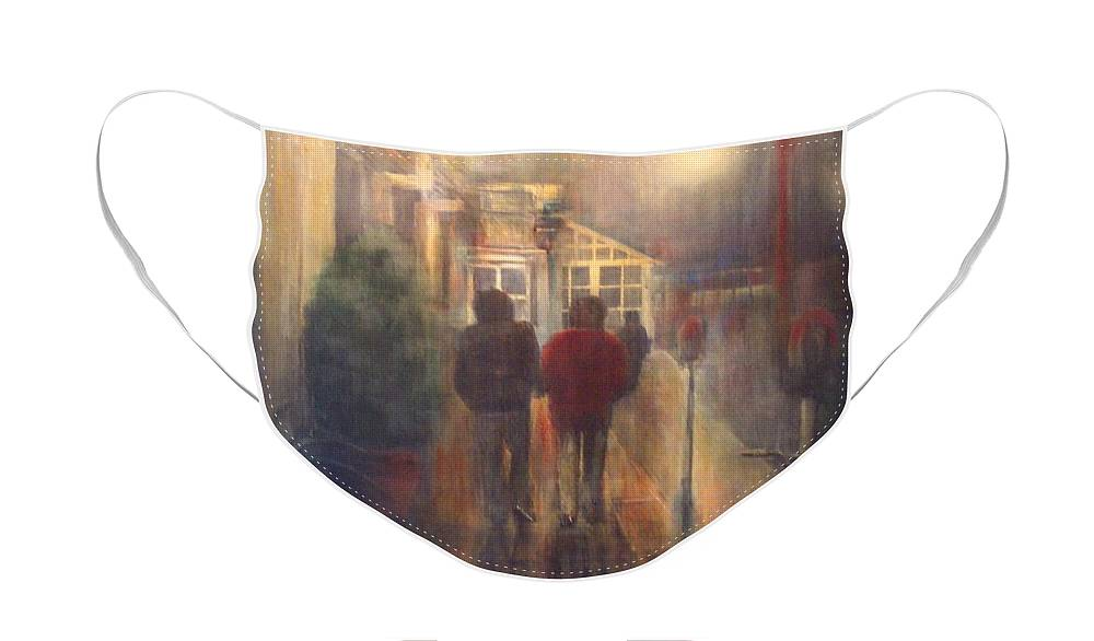 People Face Mask featuring the painting After Hours by Victoria Heryet