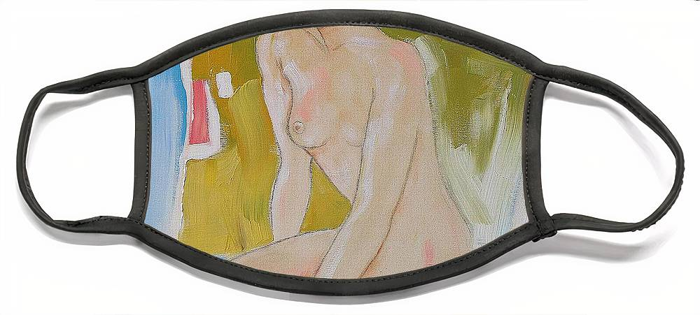 Abstract Face Mask featuring the painting After The Bath by Linda Monfort
