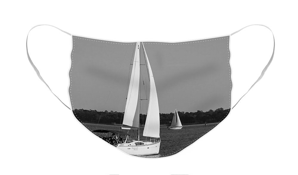 Black And White Face Mask featuring the photograph Afternoon for Sailing in Black and White by Suzanne Gaff