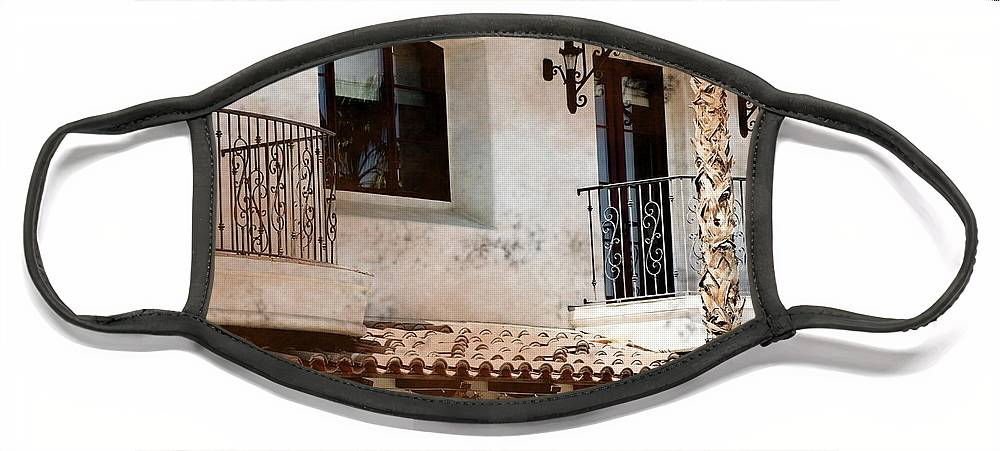 Aged Photograph Face Mask featuring the photograph Aged Stucco Building Balcony with Terracotta Roof by Colleen Cornelius