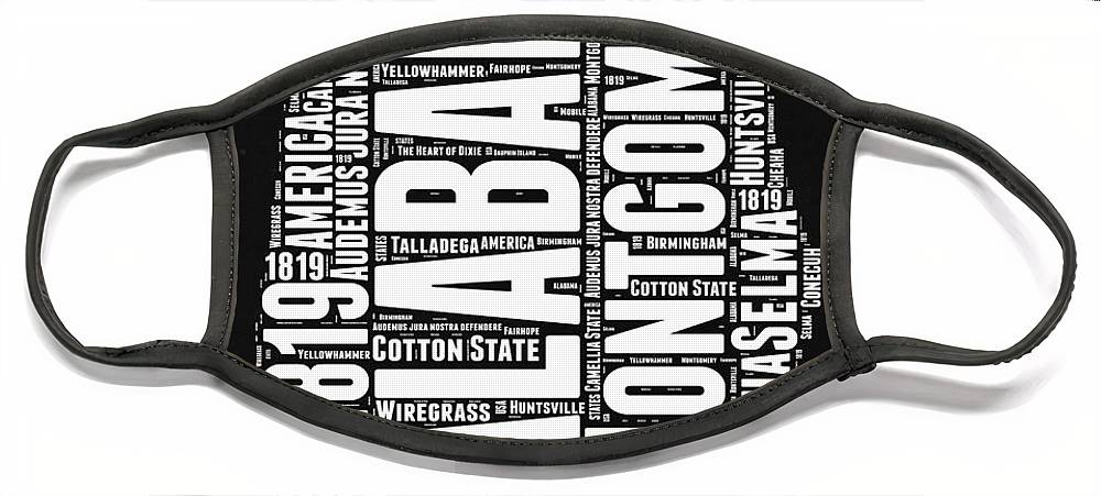 Alabama Face Mask featuring the digital art Alabama Word Cloud Black and White Map by Naxart Studio