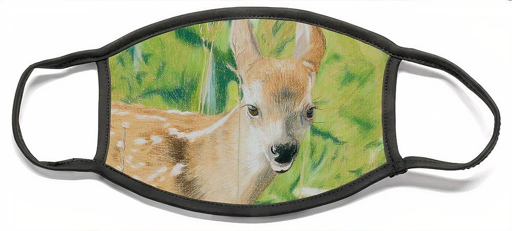 Fawn Face Mask featuring the painting Alert Fawn by Miriam A Kilmer