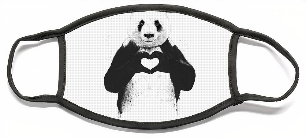 Panda Face Mask featuring the painting All you need is love by Balazs Solti