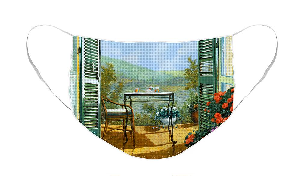 Terrace Face Mask featuring the painting Alle Dieci Del Mattino by Guido Borelli