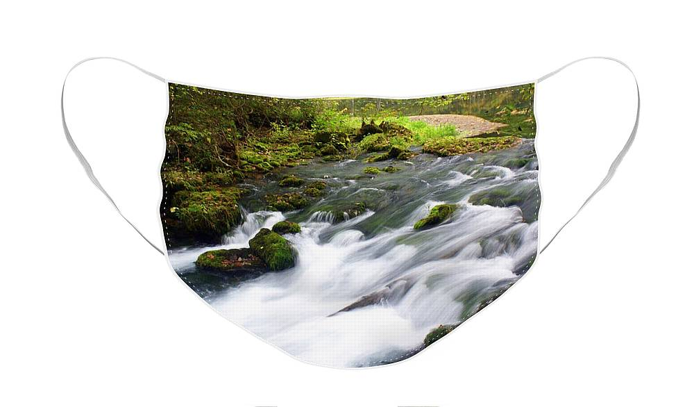 Alley Spring Face Mask featuring the photograph Alley Spring Branch by Marty Koch