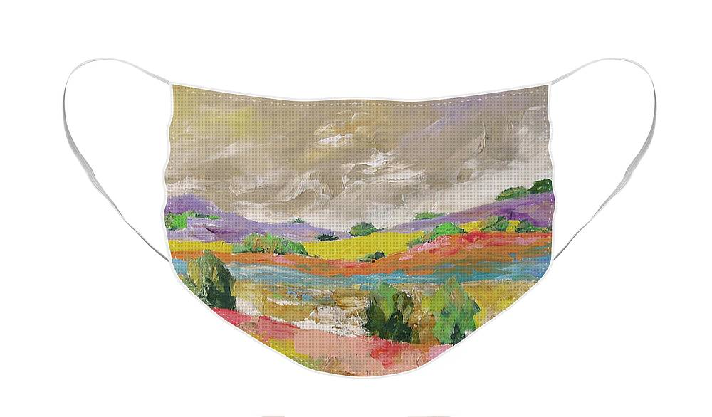 Original Face Mask featuring the painting Along The River by Linda Monfort