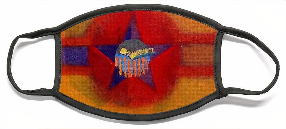 Usaaf Insignia And Idealised Landscape In Union Face Mask featuring the painting American Sub Decal by Charles Stuart