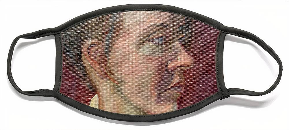 Girl Face Mask featuring the painting Ami Portrait by Lilibeth Andre