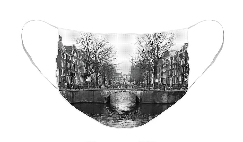 Black And White Face Mask featuring the photograph Amsterdam Canal Bridge Black and White by Carol Groenen