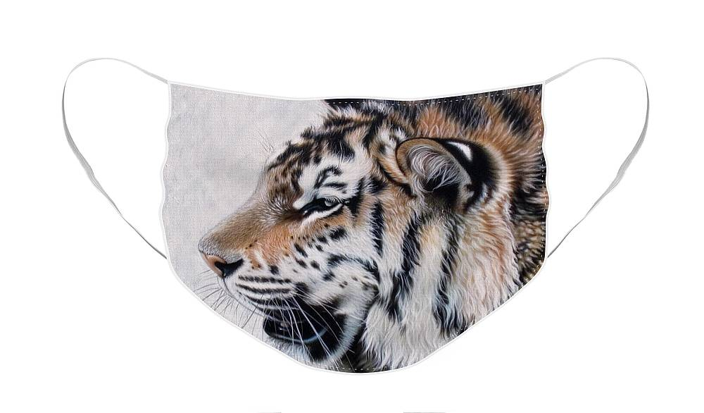 Acrylic Face Mask featuring the painting Amur by Sandi Baker