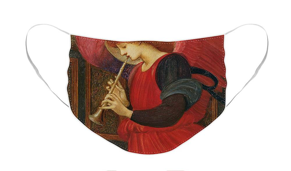 An Angel Playing A Flageolet Face Mask featuring the painting An Angel Playing a Flageolet by Sir Edward Burne-Jones