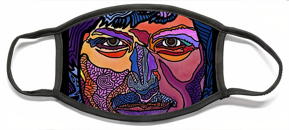 Face Mask featuring the digital art An Apple for Steve Jobs by Marconi Calindas